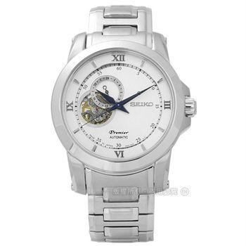 SEIKO 精工★贈皮錶帶4R39-00P0S.SSA319J1 / Premier 絕世羅馬藍寶石水晶不鏽鋼機械手錶 銀色 41mm