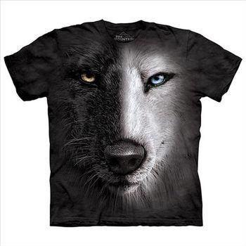 【摩達客】(預購)美國進口The Mountain 陰陽眼黑白狼臉 純棉環保短袖T恤