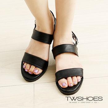 【TW Shoes】一字寬帶繫踝厚底涼鞋【K122C2623】