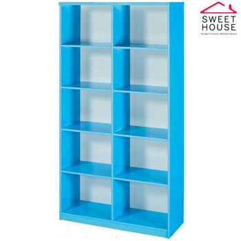 【甜美家】塑鋼防潮防霉3尺開放式書櫃(馬卡龍藍色)