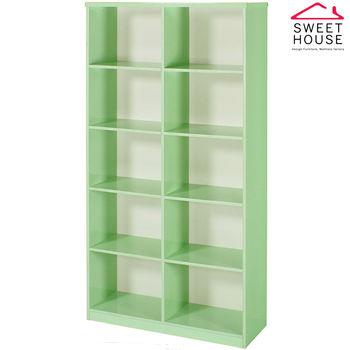 【甜美家】塑鋼防潮防霉3尺開放式書櫃(馬卡龍綠色)