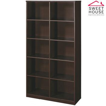 【甜美家】塑鋼防潮防霉3尺開放式書櫃(胡桃色)