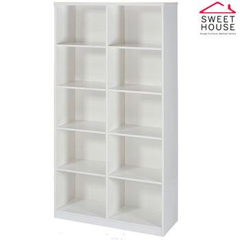 【甜美家】塑鋼防潮防霉3尺開放式書櫃(純白色)