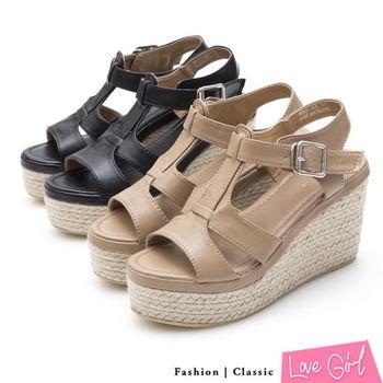 ☆Love Girl☆摩登清新雙層T字厚底楔型涼鞋