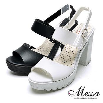 【Messa米莎專櫃女鞋】MIT歐美簡約羅馬粗高跟涼鞋-二色
