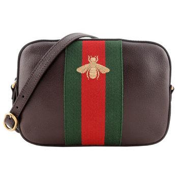 GUCCI 蜜蜂刺繡紅綠織帶皮革斜背包(深咖)