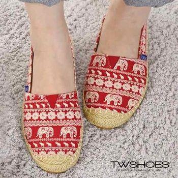 【TW Shoes】民族風情大象圖騰草編平底包鞋【K120A3326】