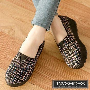 【TW Shoes】多色金蔥毛呢編織厚底懶人鞋【K130I3172】