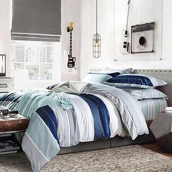 【Betrise】生活曲調-環保印染德國防螨抗菌精梳棉四件式兩用被床包組-加大