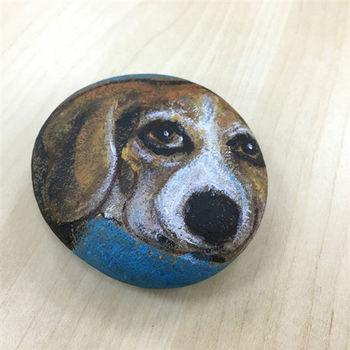 【纖維藝術家-龐一】石頭創作-大耳狗