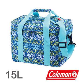 Coleman 15L 藍葉圖騰保冷袋 CM-22226 │行動冰箱│冰筒│冰桶│手提袋│露營│登山