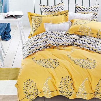 【Betrise】流光碎影-環保印染德國防螨抗菌精梳棉四件式兩用被床包組-雙人