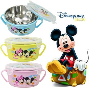 【迪士尼家族】不鏽鋼雙耳隔熱碗/幼兒學習隔熱碗x3入組(內附湯匙3色出貨)