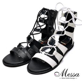 【Messa米莎專櫃女鞋】MIT羅馬繩縛造型休閒涼鞋-二色
