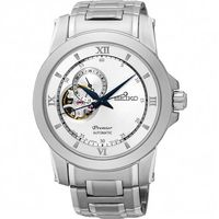 SEIKO Premier 開芯鏤空視窗機械腕錶 ^#45 銀 ^#47 40mm 4R3
