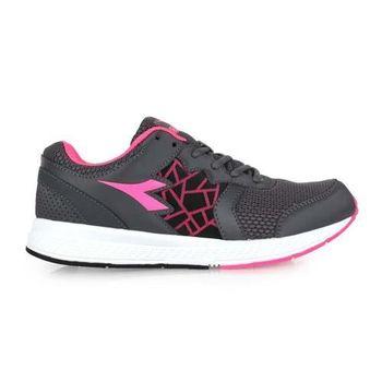 【DIADORA】女慢跑鞋-寬楦 路跑 灰螢光粉