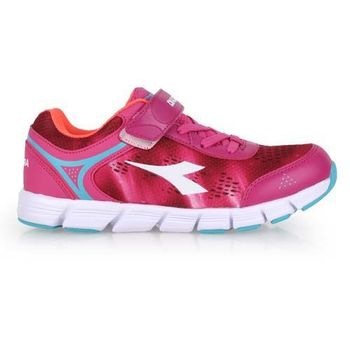 【DIADORA】男女大童慢跑鞋-寬楦 路跑 桃紅水藍