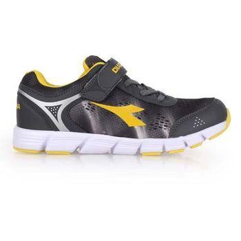 【DIADORA】男女大童慢跑鞋-寬楦 路跑 灰黃