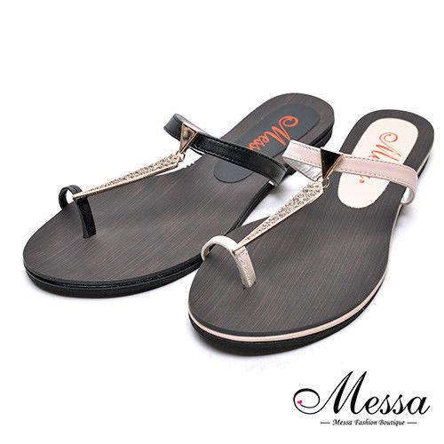 【Messa米莎專櫃女鞋】MIT邪惡金屬吊飾木板紋夾腳拖鞋-二色