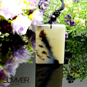 【SUMMER寶石】天然珍稀水墨玉髓項鍊(7B-21)