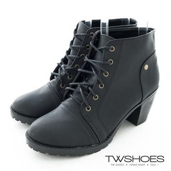 【TW Shoes】率性風個性綁帶低跟騎士短靴【K117C0888】