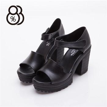 【88%】時尚韓版 黑白經典款 9cm高跟 粗跟 涼鞋(2色)
