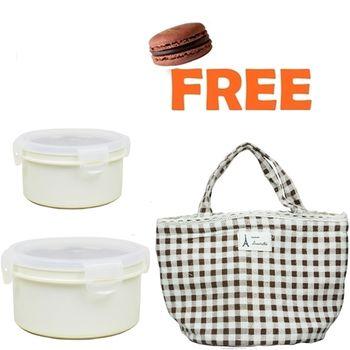 【家得適 】卡滋馬卡龍600cc+920cc 隔熱餐盒附贈保溫餐袋/便當盒/保鮮盒(牛奶白x2隨機出貨).