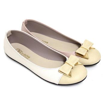 【Pretty】甜美朵結雙色拼接平底娃娃鞋-粉紅色、米色
