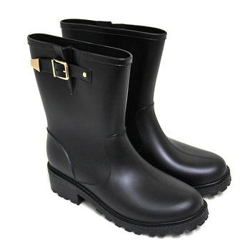 【Pretty】雨天首選霧面金屬扣鐶中筒雨靴-黑色