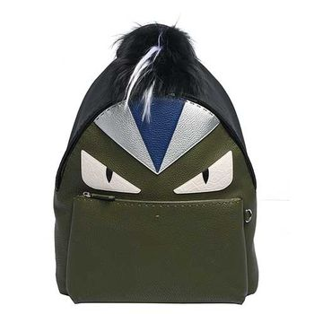 FENDI 經典BUGS系列荔枝紋牛皮毛怪造型後背包(黑X墨綠)