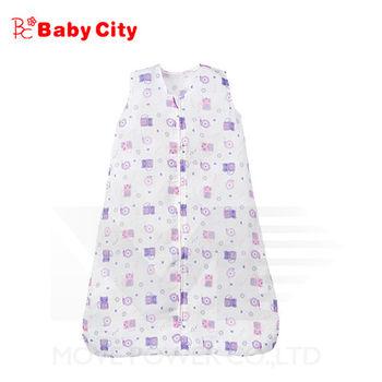 娃娃城BabyCity-超柔紗布寶寶防踢睡袍-紫(貓咪)