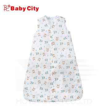 娃娃城BabyCity-超柔紗布寶寶防踢睡袍-卡其(貓頭鷹)