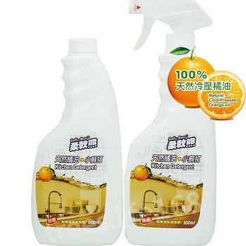 【家得適】台灣柔軟熊 天然檸檬油+小蘇打/600ml廚房清潔劑(1+1 )x3組入