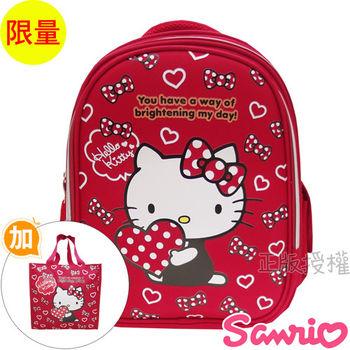 【Hello Kitty凱蒂貓】書包+提袋-EVA幸運透氣款(紅色)