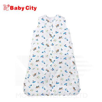 娃娃城BabyCity-超柔紗布寶寶防踢睡袍-藍(交通工具)