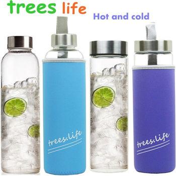 【可立夫】耐熱玻璃水瓶304#蓋 附套寬口550mlx2+窄口550mlx2