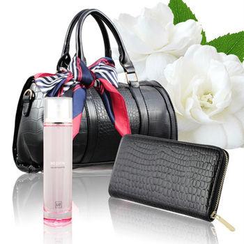 【GAP】粉紅誘惑性感女香限量5件組(香水100ml+時尚包+時尚長夾+絲巾隨機款+針管)