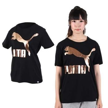【PUMA】女流行系列GOLD短袖T恤-純棉 棉T 圓領 慢跑 路跑 黑玫瑰金