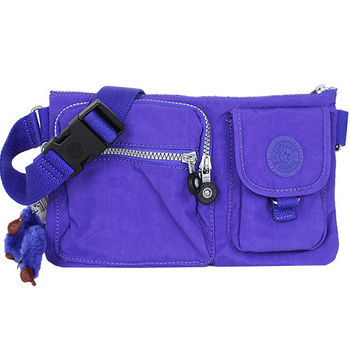 KIPLING  -OCTOPSPRPL拉鍊腰包(藍紫)/毛絨猩猩吊飾