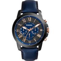 FOSSIL Grant 旗艦三眼計時復刻腕錶 ^#45 黑x藍 ^#47 44mm FS