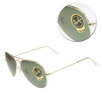【Ray Ban】經典飛官墨綠金框太陽眼鏡(RB3025 L0205)