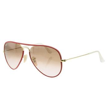 【Ray Ban】飛官深紅紅色金框太陽眼鏡(RB3025JM 001/X3-FULL RED)