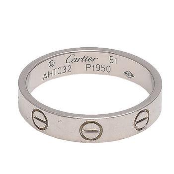 Cartier卡地亞 經典LOVE RING 18K白K金婚戒 (#51-展示品)