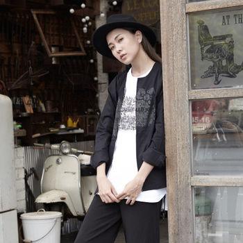 【DYC】中性時尚風格 - HELLO KITTY 限量聯名款 無領拉鍊外套 ( 黑 ) S / M