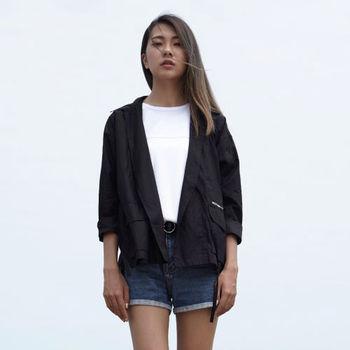 【DYC】中性時尚風格 - 時裝週熱門單品 日式和風作務衣罩衫 ( 黑 ) S / M