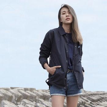【DYC】中性時尚風格 - 防潑水面料 機能防潑水教練外套 ( 丈青 ) S / M