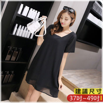 WOMA-S6320韓款性感前後V領修身洋裝(黑色)WOMA中大尺碼洋裝