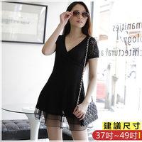 WOMA ^#45 S6093韓款甜美淑女甜美蕾絲V領修身洋裝 ^#40 黑色 ^#41