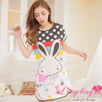 lingling日系 全尺碼-點點雙面兔子印花短袖連身裙睡衣(經典黑)A2847-02