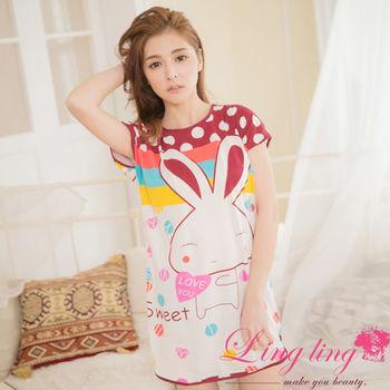 lingling日系 全尺碼-點點雙面兔子印花短袖連身裙睡衣(俏皮棗紅)A2847-01